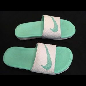 Teal and White Nike Slip-ons